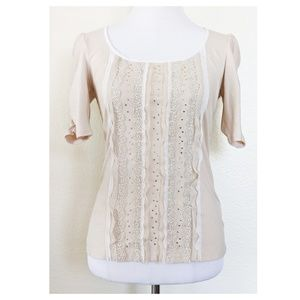 WHBM Fitted Puff Sleeve Knit Top XS